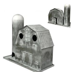 Metal Barn-Silo Birdhouse-White Washed
